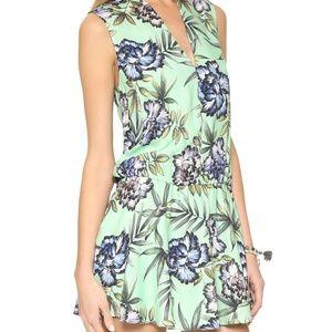 NEW Alice+Olivia Floral Mint Drop Waist Dress XS